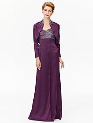Sheath / Column Straps Floor Length Satin Mother of the Bride Dress with Beading Sequins Criss Cross by LAN TING BRIDE®