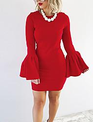 preiswerte -Damen Bodycon Kleid-Party Klub Einfach Street Schick Solide Rundhalsausschnitt Mini Langärmelige Polyester Frühling Herbst Mittlere