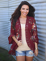 cheap -Women's Holiday Going out Vintage Sexy Boho Spring/Fall All Seasons Blouse,Floral V Neck Long Sleeves Rayon Thin Medium
