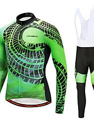 billiga Sport och friluftsliv-CYCOBYCO Herr Långärmad Cykeltröja med Haklapp-tights - Vit Cykel Klädesset, 3D Tablett, Snabb tork Fleece, Lycra Grafisk / Elastisk