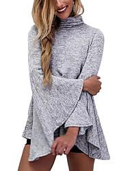 Ample Robe Femme Autres simple,Couleur Pleine Col Roulé Mini Manches longues Coton Automne Taille Normale Micro-élastique Opaque