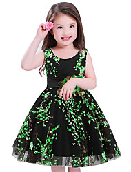 Girl's Holiday Floral Dress,Polyester Sleeveless Cute Princess Green Red
