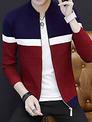 cheap -Men's Daily Short Cardigan,Color Block Round Neck Long Sleeves Acrylic Winter Fall Medium Micro-elastic