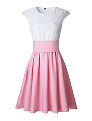 cheap -Women's Daily Club Sexy Street chic Sheath Dress,Color Block Patchwork Round Neck Mini Short Sleeve Polyester Summer Fall High Waist