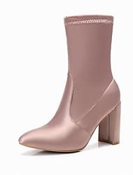 Недорогие -Жен. Обувь Полиуретан Зима Модная обувь Ботинки На толстом каблуке Сапоги до середины икры для Для праздника Офис и карьера Черный Розовый