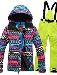 economico -Per donna Giacca e pantaloni da sci Caldo Antivento Indossabile Antistatico Traspirabilità Sci Escursionismo Sci di fondo Cuoio