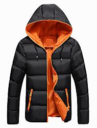 cheap -Men's Regular Padded Coat,Casual Sports Color Block-Cotton Long Sleeve