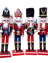 cheap -4Pcs Christmas Decorations Wooden Crafts Decorative Ornaments Gifts Nutcracker Fresh Style