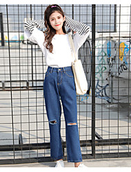 Women's High Rise Inelastic Pants Jeans Pants,Vintage Casual Hollow Cotton All Seasons