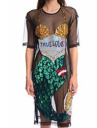 preiswerte -Damen T Shirt Kleid-Lässig/Alltäglich Sexy Druck Einfarbig Rundhalsausschnitt Knielang Kurze Ärmel Polyester Sommer Mittlere Hüfthöhe