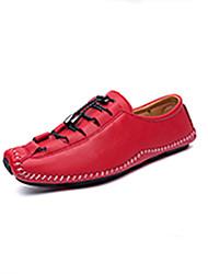 Недорогие -Муж. обувь Полиуретан Весна Осень Мокасины Удобная обувь Мокасины и Свитер Кружева для Повседневные на открытом воздухе Черный Серебряный