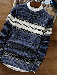 cheap -Men's Daily Short Pullover,Print Round Neck Long Sleeves Cotton Winter Fall Thick Micro-elastic
