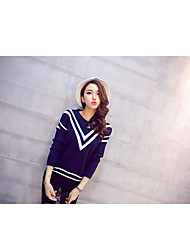 cheap -Women's Daily Wear Casual Regular Pullover,Striped V Neck Long Sleeves Cotton Autumn Medium Micro-elastic
