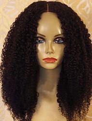 Недорогие -Натуральные волосы Бесклеевая кружевная лента / Лента спереди Парик Перуанские волосы Kinky Curly Парик С пушком 150% Природные волосы Жен. Средние Парики из натуральных волос на кружевной основе