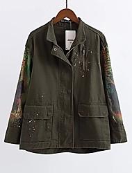 Недорогие -Жен. На выход На каждый день Куртка - Однотонный Контрастных цветов