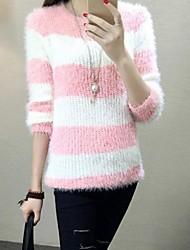 Standard Pullover Da donna-Casual A strisce Rotonda Manica lunga Lana d'angora Primavera/Autunno Inverno Medio spessore Elasticizzato
