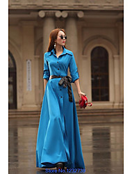cheap -Women's Party Going out A Line Dress,Color Block Shirt Collar Maxi Long Sleeves Others Fall High Waist Inelastic Medium