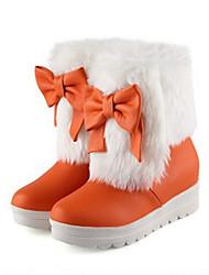 Недорогие -Жен. Обувь Полиуретан Осень / Зима Удобная обувь / Оригинальная обувь / Зимние сапоги Ботинки На плоской подошве Круглый носок Ботинки
