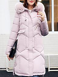 Lungo Imbottito Da donna,Cappotto Semplice Moda città Casual Tinta unita Poliestere Polipropilene Manica lunga