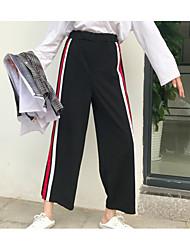 baratos -Feminino Vintage Moda de Rua Cintura Alta Sem Elasticidade Perna larga Chinos Calças,Sólido Listrado Acrílico Todas as Estações
