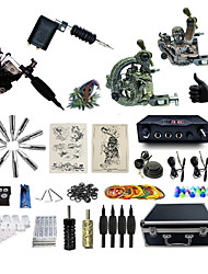 cheap -Tattoo Machine Professional Tattoo Kit 2 rotary machine liner & shader 2 alloy machine liner & shader High Quality 2 x aluminum grip 4 x