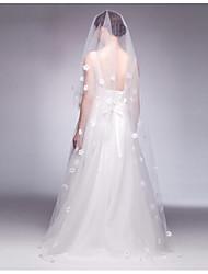 cheap -One-tier Lace Applique Edge Bridal Wedding Accent/Decorative Modern/Contemporary Wedding Veil Blusher Veils 53 Appliques Paillette Tulle