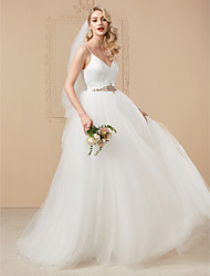 cheap -Ball Gown Spaghetti Straps Court Train Satin Tulle Wedding Dress with Beading Crystal Detailing by