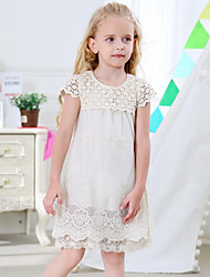 Girl's Holiday Going out Patchwork Dress,Rayon Polyester Short Sleeves Street chic Princess Beige