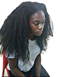 Недорогие -Натуральные волосы Бесклеевая сплошная кружевная основа / Полностью ленточные Парик Бразильские волосы Кудрявый / Kinky Curly Парик 150% С детскими волосами / Природные волосы / Glueless Жен. Средние