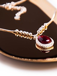 cheap -Women's Cubic Zirconia Synthetic Ruby Silver Choker Necklace Pendant Necklace - Vintage Elegant Drop Red Necklace For Party Going out