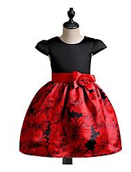 Robe Fille de Décontracté / Quotidien Imprimé Coton Polyester Printemps, Août, Hiver, Eté Manches Courtes simple Noir