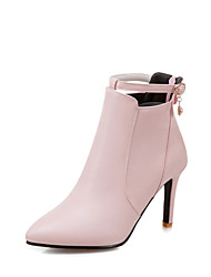 Women's Boots Comfort Novelty Bootie Fall Winter Leatherette Casual Office & Career Imitation Pearl Stiletto Heel Blushing Pink Yellow