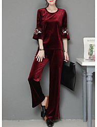 cheap -Women's Daily Casual Winter Set Pant Suits,Solid Round Neck Long Sleeves Cotton