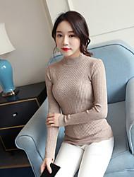 Corto Pullover Da donna-Casual Tinta unita Dolcevita Manica lunga Altro Autunno Medio spessore strenchy