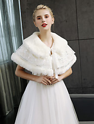 cheap -Sleeveless Faux Fur Wedding Party / Evening Women's Wrap With Laces Capelets