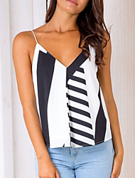 cheap -Women's Daily Holiday Going out Vintage Boho Spring Summer Tank Top,Geometric Color Block Strap Sleeveless Polyester Medium