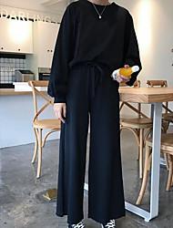 economico -T-shirt Pantalone Completi abbigliamento Da donna Quotidiano Per uscire Moda città Autunno,Tinta unita Rotonda Cotone Manica lunga