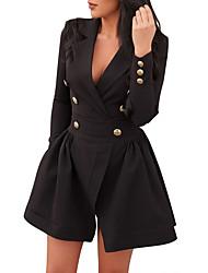 cheap -Women's Daily Going out Sexy Street chic Sheath Dress,Solid Shirt Collar Mini Long Sleeves Polyester High Waist Micro-elastic Medium