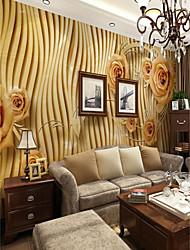 baratos -Floral Art Deco 3D Decoração para casa Moderna Clássico Rústico Revestimento de paredes, Tela de pintura Material adesivo necessário Mural