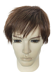cheap -Synthetic Hair Wigs kinky straight Capless Natural Wigs Short Brown