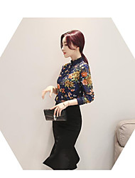 Women's Daily Wear Vintage Sophisticated Shirt,Floral Crew Neck Long Sleeves Cotton