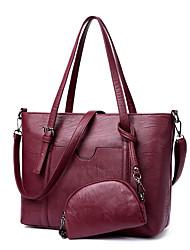 preiswerte -Damen Taschen PU Bag Set 2 Stück Geldbörse Set Reißverschluss für Einkauf Normal Alle Jahreszeiten Rote Grau