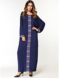 Women's Daily Tunic Dress,Color Block Round Neck Maxi Long Sleeve Polyester All Season Mid Rise Micro-elastic Opaque