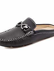 cheap -Men's Shoes Leather Spring Fall Comfort Clogs & Mules Tassel For Casual White Black