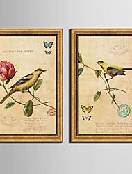 economico -Floreale/Botanical Animali Vintage Tele con cornice Set con cornice Decorazioni da parete,PVC Materiale con cornice For Decorazioni per