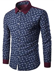 cheap -Men's Daily Vintage Chinoiserie Winter Fall/Autumn Shirt,Floral Shirt Collar Long Sleeves Cotton Medium