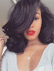 cheap -Human Hair Lace Front Wig / Glueless Lace Front Wig Brazilian Hair Natural Wave Bob Haircut / Layered Haircut / With Bangs 130% Density Natural Hairline / 100% Virgin / Unprocessed Women's Medium