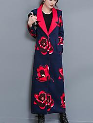 Для женщин На выход На каждый день Осень Зима Тренч Рубашечный воротник,Простой Однотонный Цветочный принт Макси Длинный рукав,Хлопок