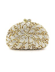 cheap -Women's Bags Metal Evening Bag Crystal Detailing Flower for Wedding Event/Party All Seasons Gold