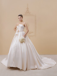 cheap -Ball Gown Strapless Cathedral Train Lace / Satin / Tulle Made-To-Measure Wedding Dresses with Bow(s) / Buttons / Sashes / Ribbons by LAN